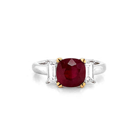 Certified Oval Burmese Ruby 2.48 Carat Baguette Diamond Platinum Cocktail Ring