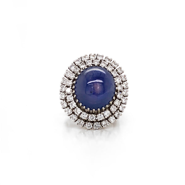 Certified Ceylon Sapphire 30 Carat Cabochon Diamond Platinum Cocktail Ring
