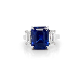 Certified Ceylon Sapphire 8.67 Carat Baguette Diamonds Platinum Ring