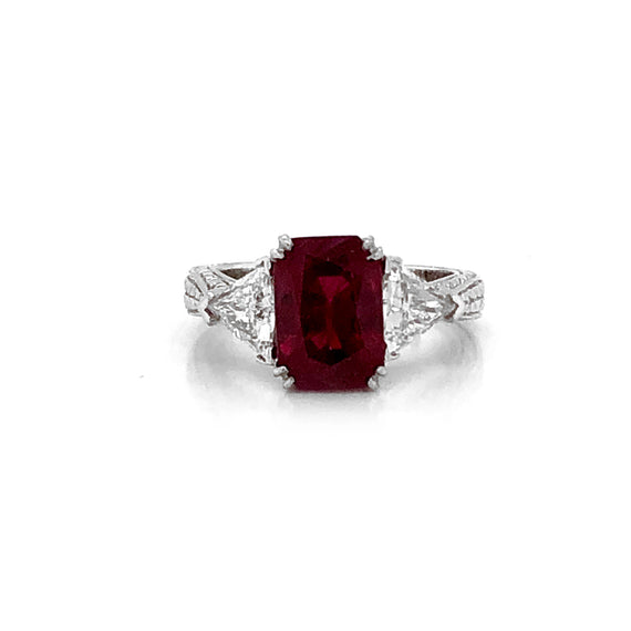 Certified Burmese Cushion Ruby 3.60 Carat Diamonds Platinum Ring