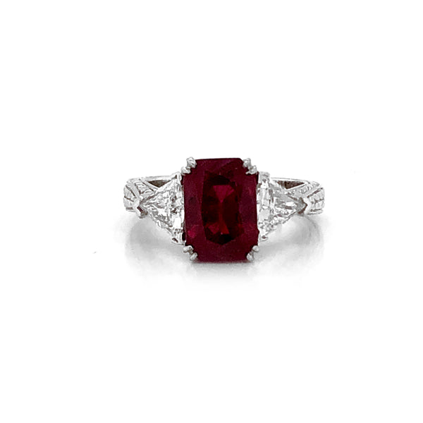 Certified Burmese Cushion Ruby 3.69 Carat Diamonds Platinum Ring
