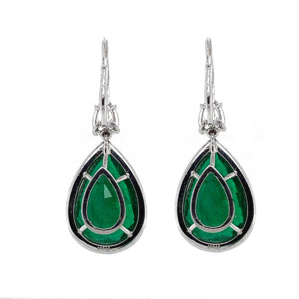 Certified Zambian Pear Emeralds 26.82 Carat Diamonds Platinum Drop Earrings