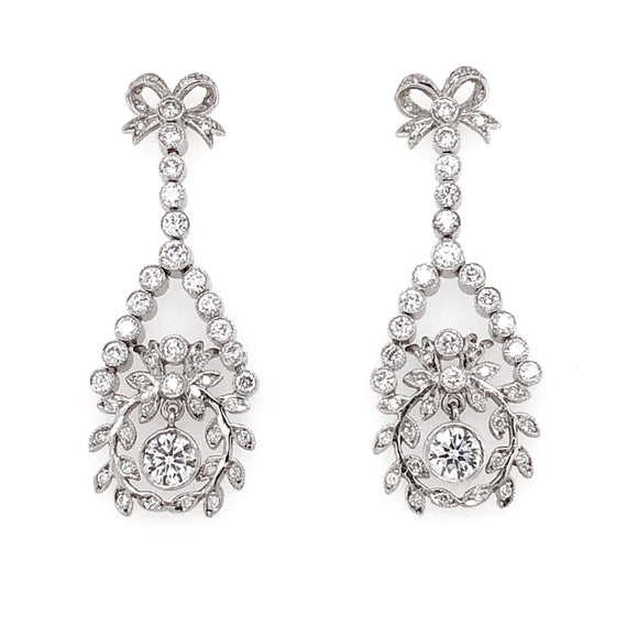 Round Diamond Ribbon Floral Motif Dangling 2.61 Carat Platinum Earrings