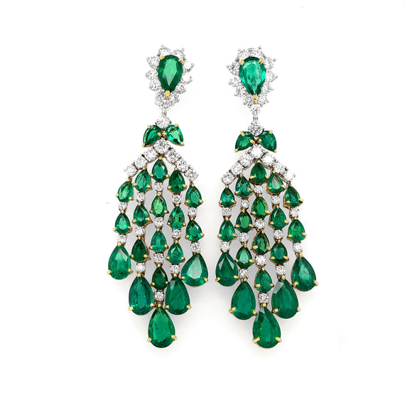 Zambian Pear Cut Emeralds 23.82 carat Diamonds Chandelier 18k Gold Earrings