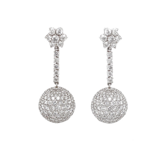 Disco Ball Round Diamonds 18.34 Carat Dangling Platinum Earrings