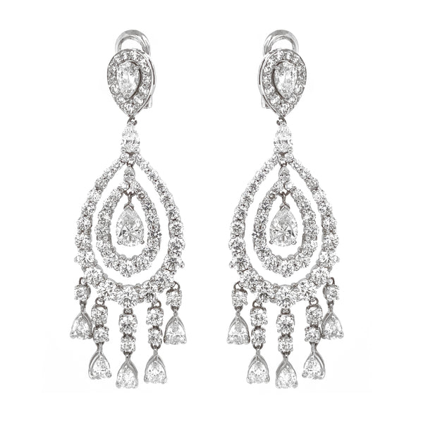 Pear Cut Diamonds 2.03 Carat Chandelier 18k Gold Earrings