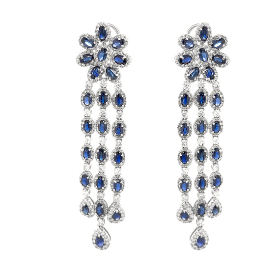 Ceylon Pear Cut Blue Sapphires 20.55 Carat Diamonds 18k Gold Earrings