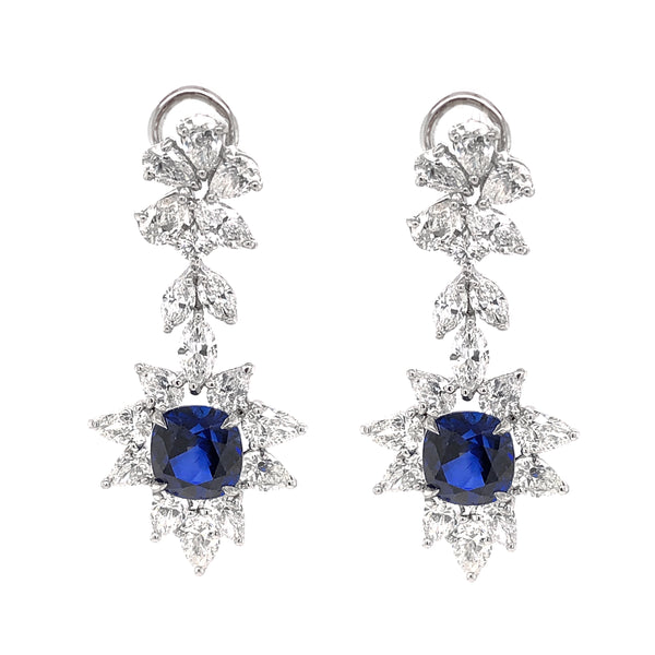Certified Cushion Cut Ceylon Sapphires 8.38 Carat Diamond Chandelier Platinum Earrings