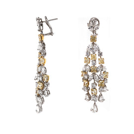 Radiant Yellow Diamonds 11.49 carat Chandelier 18k Gold Earrings
