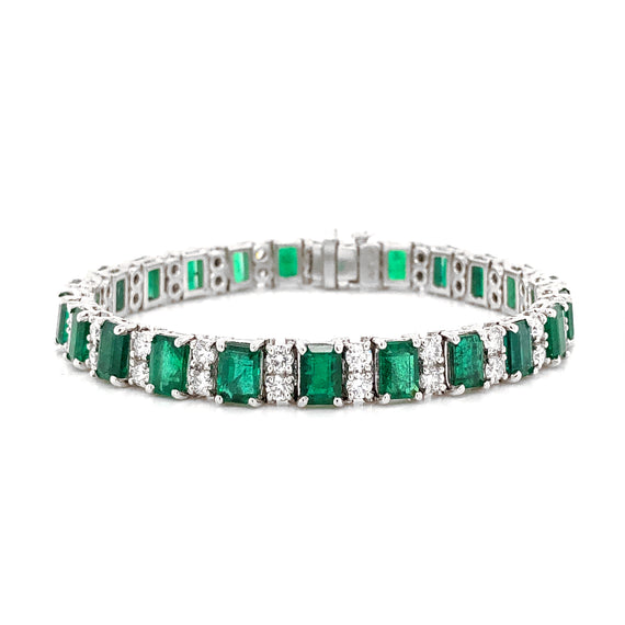 Zambian emeralds 14.9 carat round diamonds 3.39 ct platinum bracelet