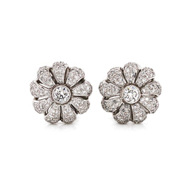 Flower Inspired Round Cut Diamonds 2.75 Carat Platinum Earrings