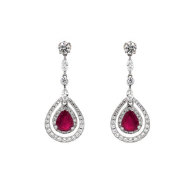 Burmese Pear Cut Ruby 3.61 Carat Diamond Dangling Platinum Earrings