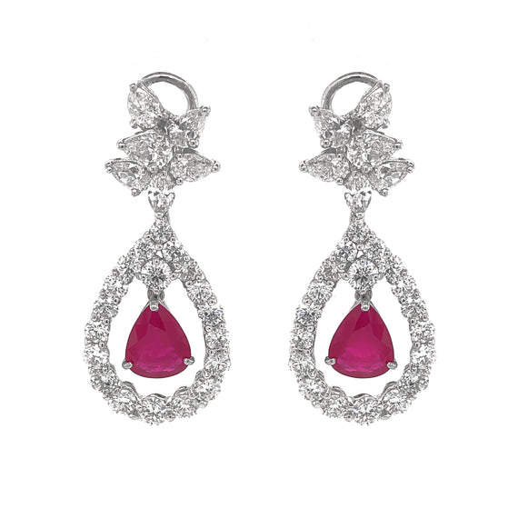 Burmese Pear Cut Ruby 5.94 Carat Diamonds Platinum Earrings