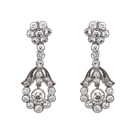 Floral Inspired Round Diamonds 2.36 Carat Platinum Dangling Earrings