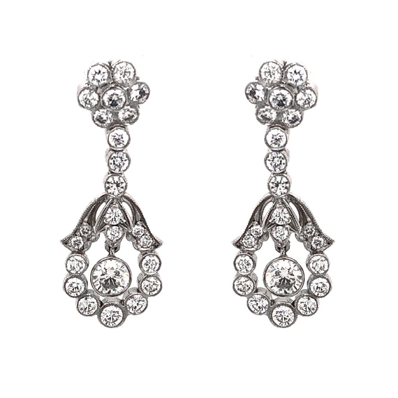 Floral Inspired Round Diamonds 2.36 Carat Platinum Drop Earrings