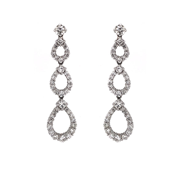 Pear Shapes Round Cut White Diamonds 4.53 Carat Dangling Platinum Earrings