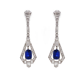 Art Deco Inspired Ceylon Oval Cut Sapphire 5.89 Carat Diamond Platinum Earrings