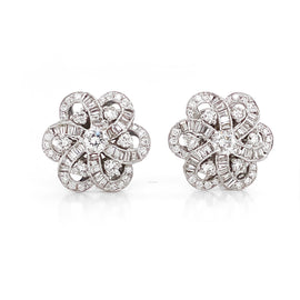 Round and Baguette Cut Diamonds 4.37 Carat Flower Inspired 18 Karat Gold Earrings