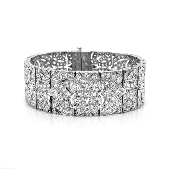 Art Deco Inspired Round Cut White Diamonds 13.8 Carat Platinum Link Bracelet
