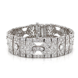 Art Deco Inspired Round Cut White Diamonds 11.29 Carat Platinum Bracelet