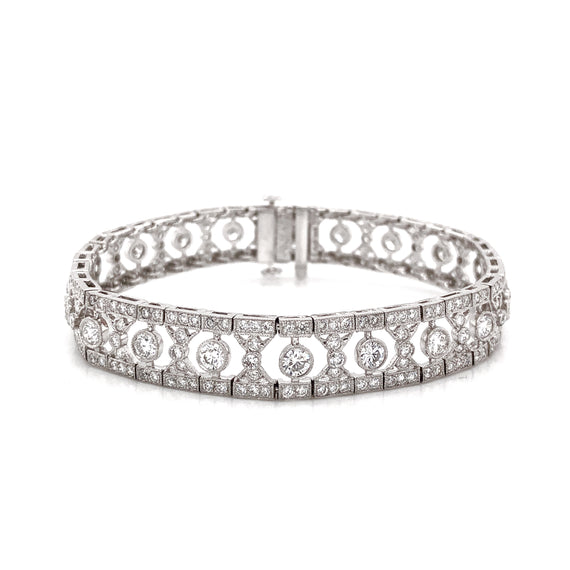 Art Deco Inspired Round Cut Diamonds 6.12 Carat Platinum Bracelet