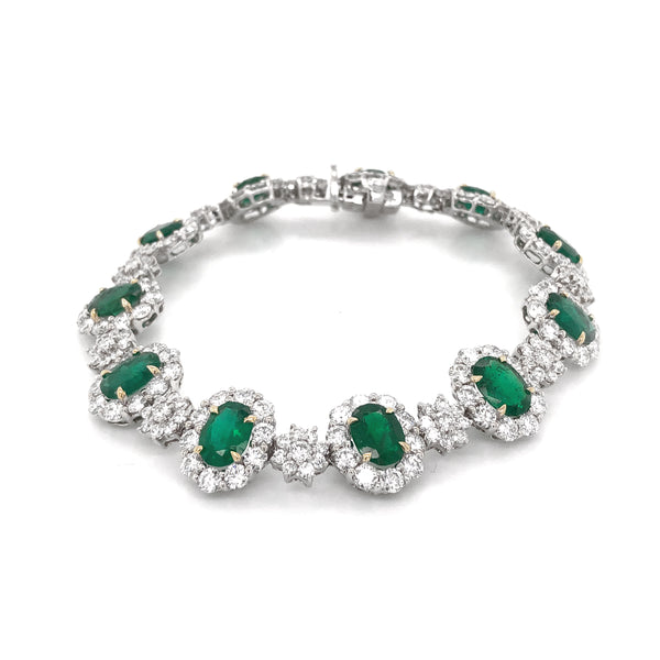 Zambian Oval Cut Emeralds 11.82 Carat Diamond Platinum Bracelet