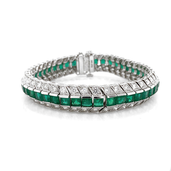 Zambian Square Cut Emeralds 14.28 Carat Diamond Platinum Link Bracelet