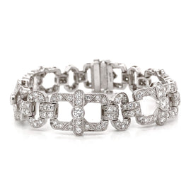 Art Deco Inspired Round Cut Diamonds 6.18 Carat Platinum Bracelet