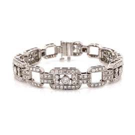 Art Deco Inspired Round Cut Diamonds 7.85 Carat Platinum Bracelet