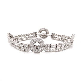 Art Deco Inspired Round Cut Diamonds 6.23 Carat Platinum Link Bracelet