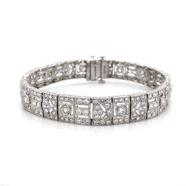 Art Deco Inspired Round Cut Diamonds 8.69 Carat Platinum Link Bracelet