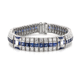 Ceylon French Square Cut Sapphires 14.38 Carat Diamond Platinum Link Bracelet