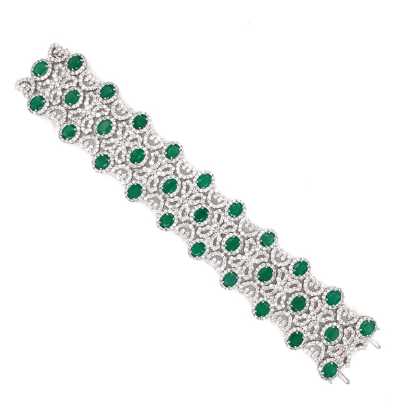Zambian Oval Cut Emeralds 22.18 Carat Diamonds 20.16 carat In 18 Karat White Gold Bracelet