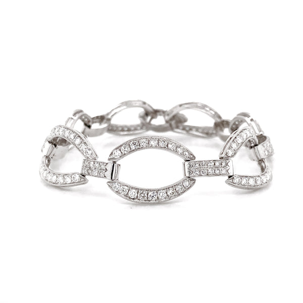 Art Deco Inspired Round Cut Diamonds 6.21 Carat Platinum Chain Bracelet