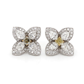 Flower Inspired Square Cut Fancy Yellow Diamond 1.35 Carat Platinum Earrings