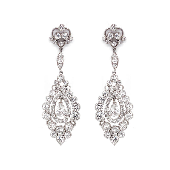 Pear Cut Diamond 1.12 Carat Round Diamonds 6.32 Carat Platinum Drop Earrings