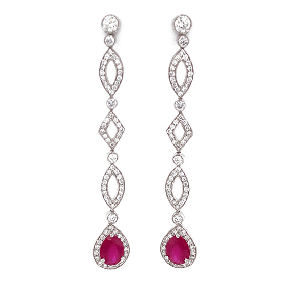 Burmese Pear Cut Ruby 3.84 Carat Round Diamond Dangling Platinum Earrings