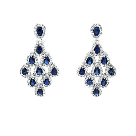 Ceylon Sapphire 10.44 Carat Diamond Chandelier 18 Karat Gold Earrings