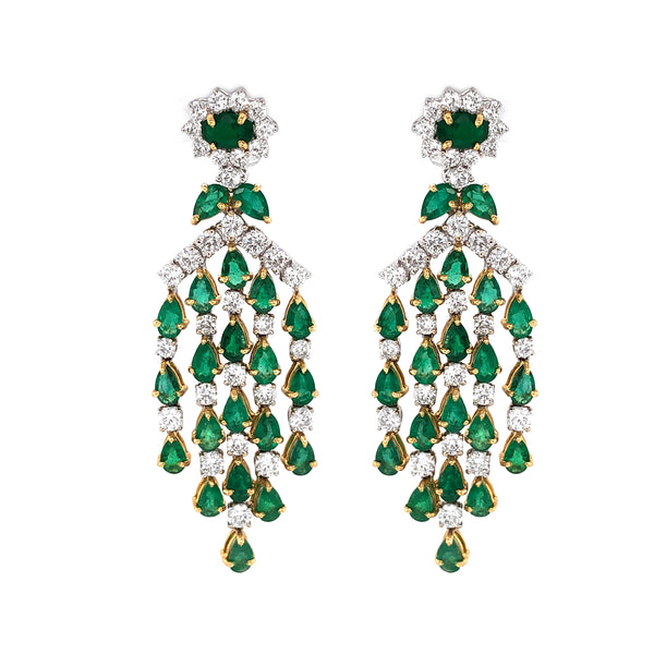 Zambian Pear Cut Emeralds 10.36 Carat Diamond 18 Karat Gold Chandelier Earrings