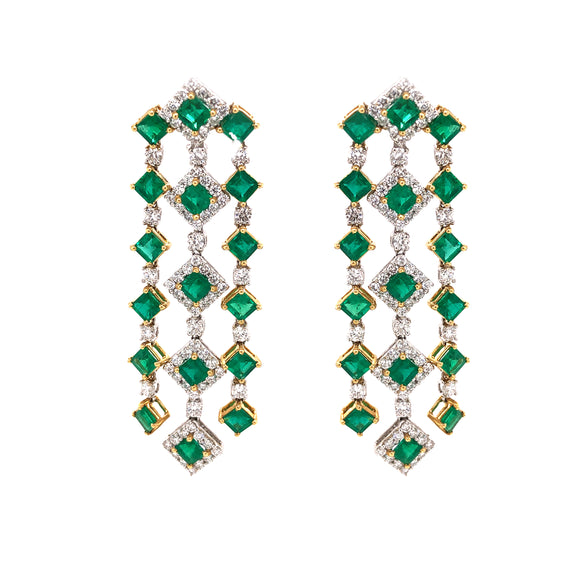 Zambian Square Cut Emerald 11.09 Carat Diamond 18 Karat Gold Chandelier Earrings