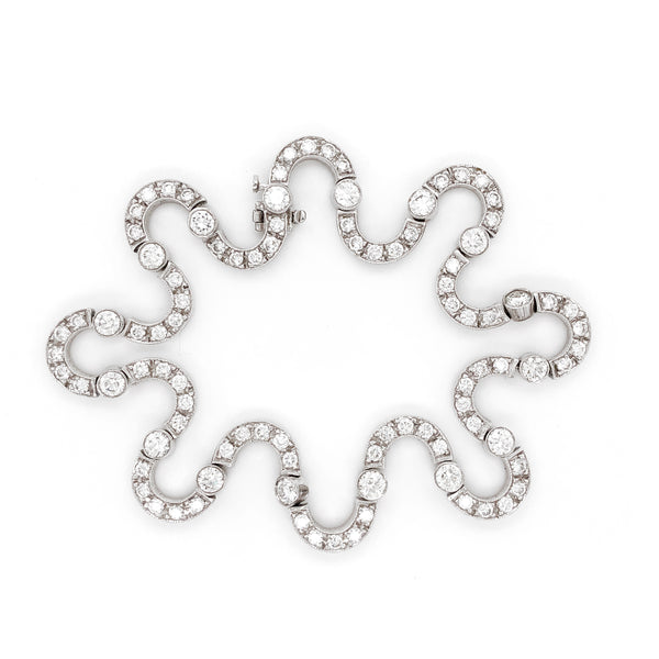 Playful Contemporary Round Cut Diamonds 9.35 Carat Platinum Bracelet