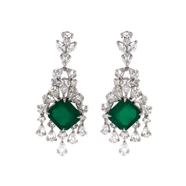 Certified Colombian Emerald Cut Emerald Drop Chandelier Platinum Earrings