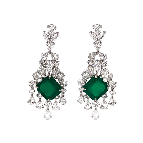 Certified Colombian Emerald Cut Emerald 11.39 Carat Drop Chandelier Platinum Earrings