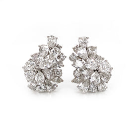 Cluster of Pear Cut Diamonds 10.98 Carat Platinum Earrings