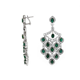 Zambian Oval Cut Emerald 12.09 Carat Drop Chandelier 18k gold Earrings