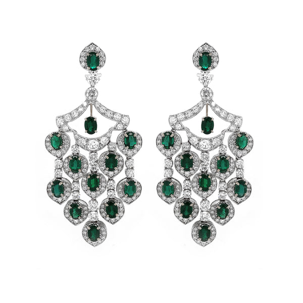 Zambian Oval Cut Emerald 12.09 Carat Drop Chandelier Platinum Earrings