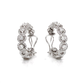 Round Diamonds 7.23 Carat Half Loop 18 Karat Gold Earrings