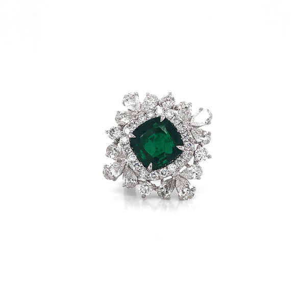 Certified Zambian Cushion Cut Emerald 4.65 Carat Diamond Platinum Cocktail Ring