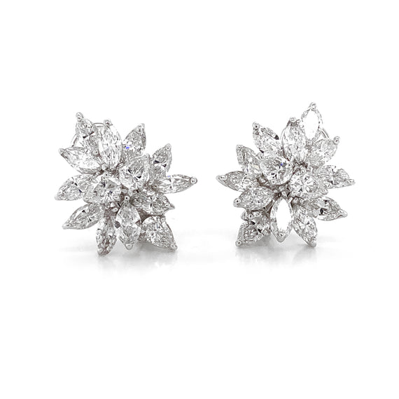 Pear Cut Cluster Diamonds 10.63 Carat Platinum Earrings