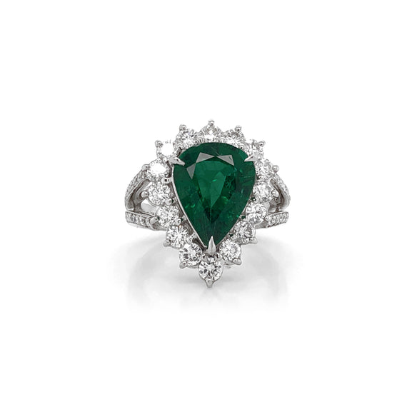 Certified Emerald Pear Cut 3.66 Carat Diamond 1.36 Carat Platinum Ring